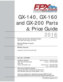 GX140/GX160/GX200 PARTS GUIDE 2016