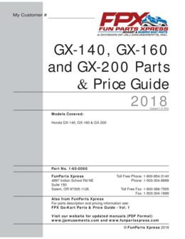 Honda GX140-160-200 Parts Guide 2018